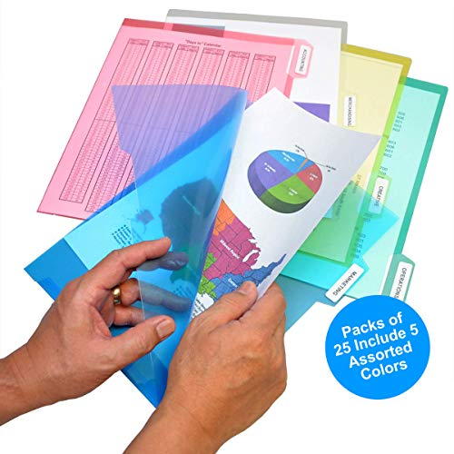 Ultimate Office PocketFile Clear Poly Document Folder Project Pockets, 5th-Cut, Letter Size, in 5 Assorted Colors, Set of - Set File Assorted