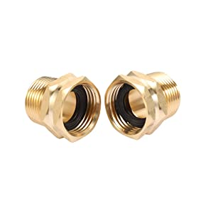 "ZKZX Garden Hose Adapter,3/4"" GHT Female x 3/4"" NPT Male Connector,GHT to NPT Adapter Brass Fitting,Brass Pipe to Garden Hose Fitting Connect (2 Pack) (3/4NPT)"