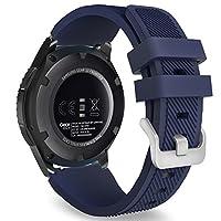 MoKo Gear S3 Frontier /Banda de reloj clásica, Correa deportiva de reemplazo de silicona suave para Samsung Gear S3 Frontier /S3 Classic /Galaxy Reloj 46mm /Moto 360 2da generación 46mm Reloj inteligente, azul medianoche