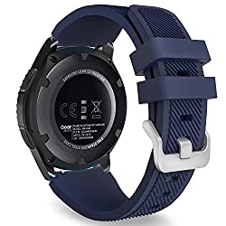 Gear S3 Frontier Classic Watch Band, Moko Soft Silicone Replacement Sport Strap For Samsung Gear S3 Frontier S3 Classic Moto 360 2nd Gen 46mm Smart Watch, Not Fit S2&s2 Classic&fit2, Midnight Blue