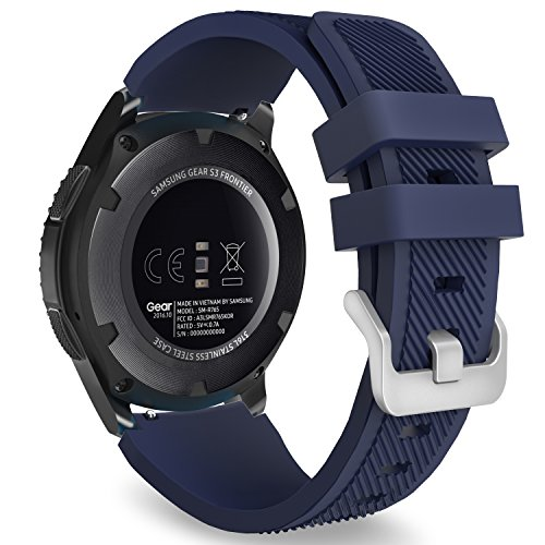 MoKo Band Compatible with Samsung Gear S3 Frontier/Classic/Galaxy Watch 46mm/Huawei Watch GT 46mm/Ticwatch pro/S2/E2, Silicone Sport Strap Fit 22mm Band, Midnight Blue