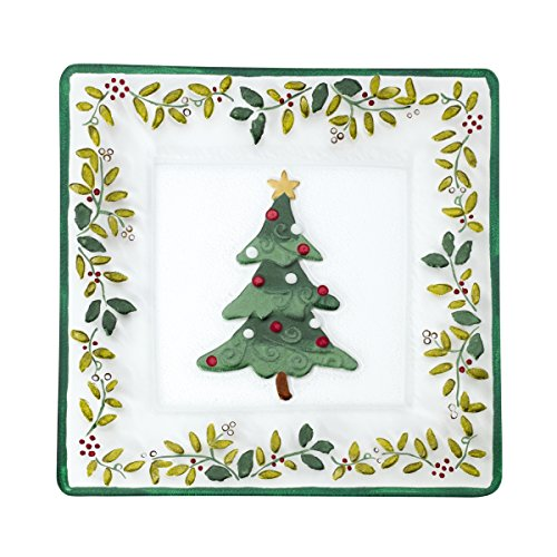 Pfaltzgraff Winterberry Handpainted Square Glass Christmas Tree Platter (Tableware Collection Winterberry)
