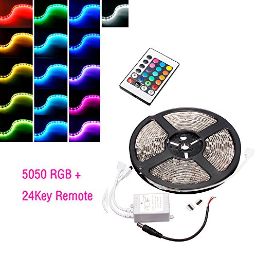 CHAMPLED® Waterproof 5M Bobbin 5050 RGB 300 LEDs SMD Strip 24Key IR 12V Power Supply Remote Controller For TOYOTA LEXUS ACURA NISSAN MITSUBISHI SUBARU - Ct In Malls Shopping