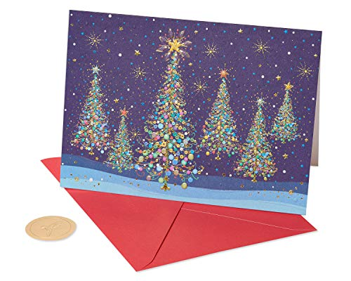 Papyrus Christmas Cards Boxed, Magical Row of Holiday Christmas Trees (14-Count) (Christmas Elegant Cards Handmade)