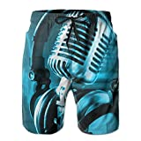Tydo Love Music Microphone and Music Notes Men's Beach Shorts Classic Swim Trunks Surf Board Pants With Pockets For Men XXL