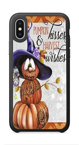 AOFFLY Case for Apple iPhone X 5.8 Inch Only - Sheena Pike Art And Illustration - Pumpkin Kisses & Harvest Wishes Jack O Man 2 - Color - Shock Absorption Protection Phone Cover Case