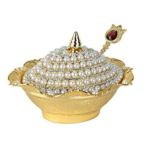 - Candy Bowl Swarovski Crystal and Pearl Coated Handmade Brass Sugar Chocolate Serving Dish For Gift
