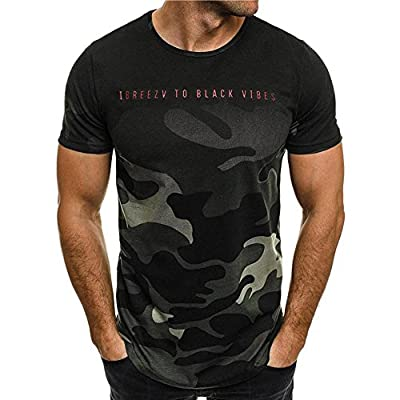 Fitness T-Shirt for Men,LuluZanm Sale Fashion Personality Camouflage Print Blouse Short-Sleeve Slim Fit Muscle Tops