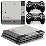 Ps4 Pro Playstation 4 Console Skin Decal Sticker NES Old Retro + 2 Controller Skins Set