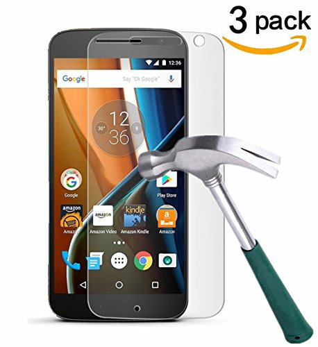 Moto G4 Screen Protector, TANTEK [Bubble-Free][HD-Clear][Anti-Scratch][Anti-Glare][Anti-Fingerprint]Tempered Glass Screen Protector for Motorola Moto G4 (4th Generation),[Lifetime Warranty]-[3Pack]