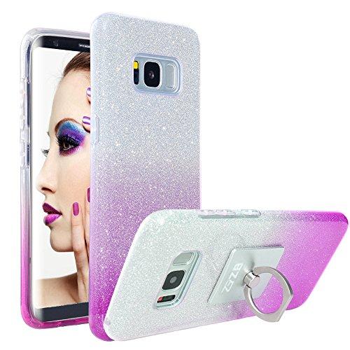 Samsung Galaxy S8 Plus Case, ZB Ultra Slim Glitter Bling Crystal Shock Absorbent Hybrid Case Cover for Samsung Galaxy S8 Plus with 1 Ring Holder Kickstand [Purple]