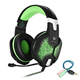 Cheap Gaming Headset for PC Mac Laptop PS4 Xbox one,3.5mm Stereo Headphones with in-line Mic,Integrated Microphone,Over-ear fit with Noise isolation,Integrated Breathing LED Light(Green)