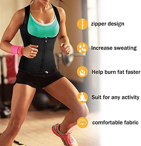 Rolewpy Women Sweat Neoprene Waist Trainer Hot Slimming Sauna Vest Tummy Control Body Shaper for Weight Loss 2