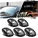 KMS 5 Pcs Smoke Cab Marker Roof Running Lights Top Clearance White 9 LED Assembly for 2003-2018 Dodge Ram 1500 2500 3500 4500 5500 Pickup Trucks RVs