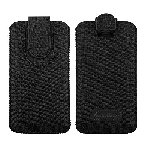 Emartbuy Dark Grey Premium Textured Fabric Slide in Pouch Case Cover Sleeve Holder (Size LM2) with Pull Tab Mechanism Suitable for Smartphones/Cellphones Listed Below (Vodafone Smart 2 Case)