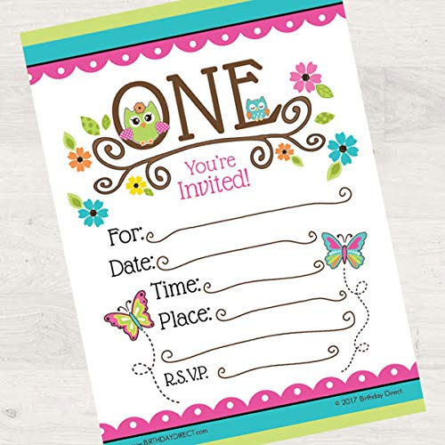 Birthday Direct Owl 1st Birthday Fill in Invitations 16 Count with Envelopes - 16 Pack Baby Owl Party Invites for 1st Birthday, Girls -