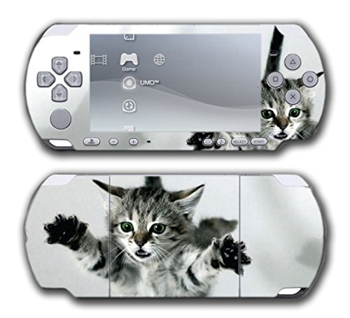 Cat Kitten Kitty Tabby American Shorthair Cute Design Video Game Vinyl Decal Skin Sticker Cover for Sony PSP Playstation Portable Slim 3000 Series System - Psp Slim 2000 Series
