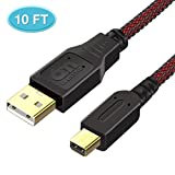 6amLifestyle 10FT 3ds Charger, High Speed Premium USB Charging Cable For Nintendo 2DS/3DS/3DS XL/DSi/DSi XL/NEW 2DSLL,Black Red
