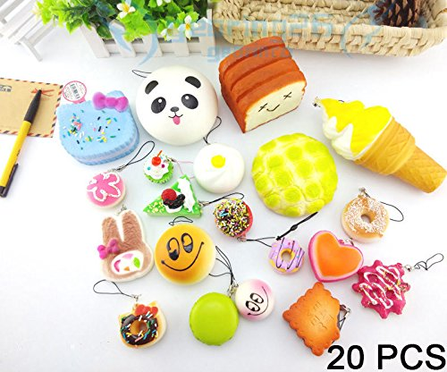 [20PCS Squishy Panda Toast Cookie Buns Charms Bread Scented Phone Straps Toys] (Baby Silly Shark Costumes)