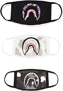 Xshelley 3-pack New Shark Face Mask,cotton mask funny Anti-dust Face mask,Ski Cycling Camping Half Face Mouth Masks for Boys and Girls