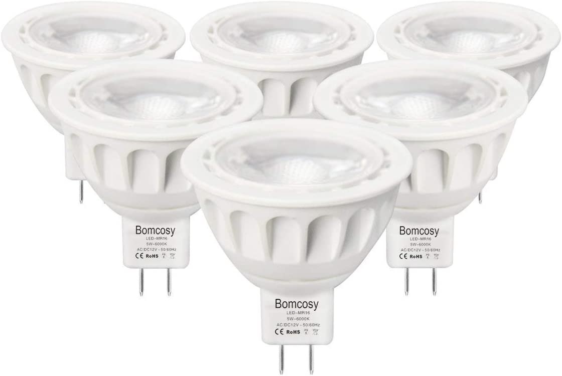Bombillas LED GU5.3, Bomcosy MR16 LED 5W Lámparas Halógenas Equivalentes a 50W, LED 12v MR16, Blanco Frio 6000K, Bombillas led 500LM, LED GU5.3 36°Luz, 6 Pack