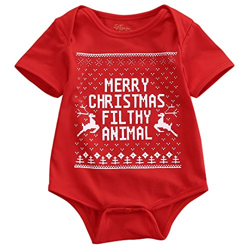 Newborn Baby Kids Snowmen My First Christmas Romper Jumpsuit Outfits Costume (3-6 Months, Merry (Baby Santa Outfit For Boy)