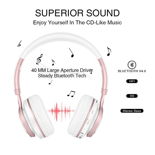 Wireless Headphones, HiFi Stereo Bluetooth Headphones with Mic, Lightweight Foldable Headset, Soft Protein Earmuffs, Support TF Card And FM Radio Wired Mode for PC Cellphone TV Girls Women (Rose Gold) by Picun (Image #1)