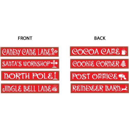 Beistle 4-Pack North Pole Street Sign Cutouts, 4-Inch by 24-Inch]()