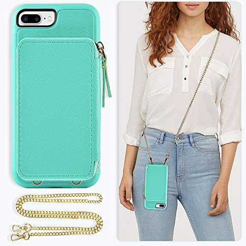 ZVE Handbag Case for Apple iPhone 7 Plus and iPhone 8 Plus, 5.5 inch, Zipper Wallet Case with Crossbody Chain Credit Card Holder Slot Purse Wrist Strap Case for iPhone 8/7 Plus 5.5 inch - Blue ()