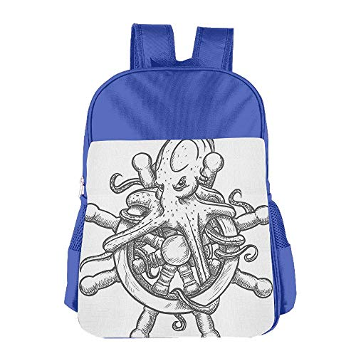 Haixia Kid Boys'&Girls' Backpack Octopus Decor Dangerous Octopus On Helm of Sailing Ship with Tentacles Around Handles Print Black White by Haixia