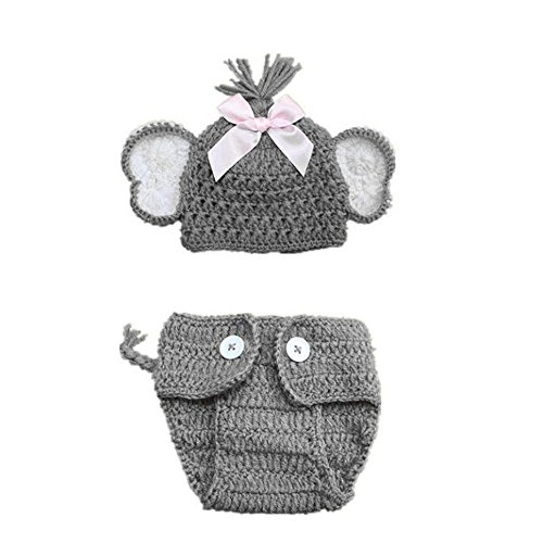 Elephant Newborn Costume Baby (Baby Photography Props Costume, FTXJ Elephant Ears Knitted Hat with Shorts Diaper Cover)