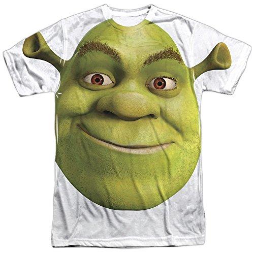 Shrek Head Mens Sublimation Shirt White XL ()