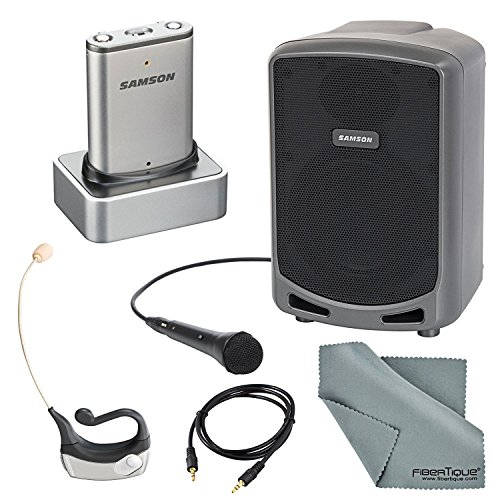 (Samson Airline Micro Wireless Earset System Bundle with Samson Expedition Express PA w/Bluetooth + Aux Cable + Fibertique Cleaning Cloth )