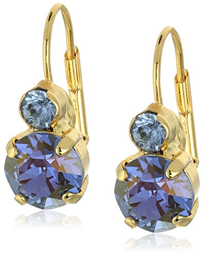 """Sorrelli """"Sweet Sapphire"""" Round Crystal French Wire Drop Earrings"""