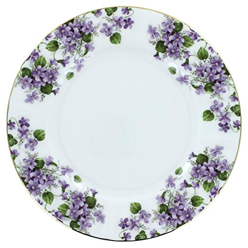 (Gracie's Violets Bone China - Dessert Plates - Set of 4)