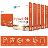 HP Printer Paper 8.5x11 BrightWhite 24 lb 5 Ream Case 2500 Sheets 100 Bright Made in USA FSC Certified Copy Paper HP Compatible 203000C