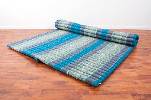 Leewadee Roll-Up Thai Mattress Guest Bed Yoga Floor Mat Thai Massage Pad XXL Queen-Size Eco-Friendly Organic And Natural, 79x59x2 inches, Kapok, light blue
