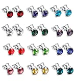 BESTEEL 12Pairs Stainless Steel Stud Earrings Set for Women Girls Men Birthstone Earrings Round Rhinestone CZ 4-6MM