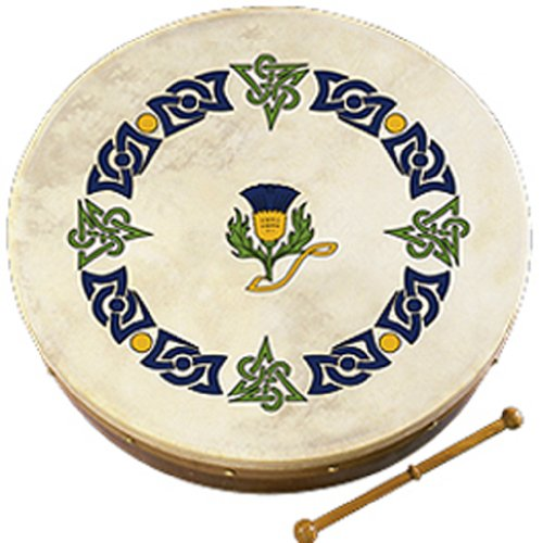 """Waltons Bodhrán 8"""" (Scots Thistle) - Handcrafted Irish Instrument - Crisp & Musical Tone - Hardwood Beater Included w/ Purchase"""