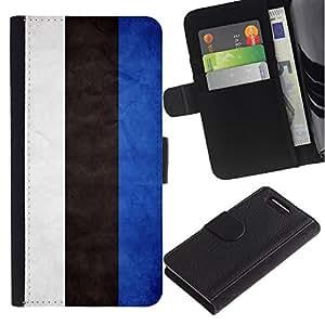 EuroCase - Sony Xperia Z1 Compact D5503 - Estonia Grunge Flag - Cuero PU Delgado caso cubierta Shell Armor Funda Case Cover