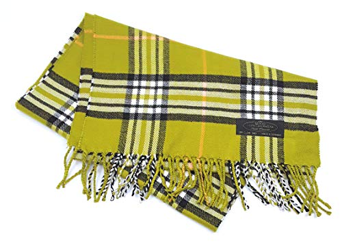 One Skein Scarf - 100% Cashmere Wool Scarf Packaged in a Colorful Natural Jute Gift Pouch (Lime Green Tartan)