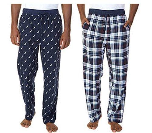 Nautica Mens 2 Pack Fleece Sleepwear Pants (Wisp White (10K), Medium)