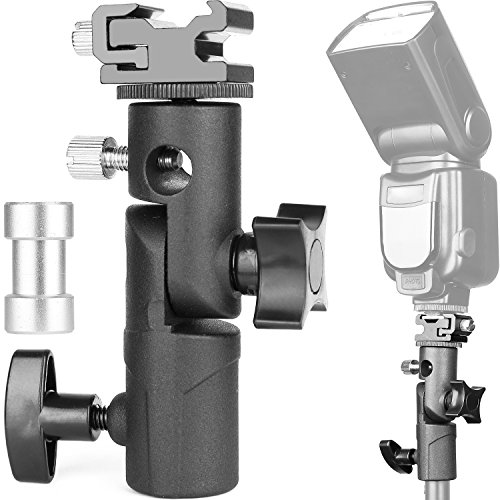 ChromLives Camera Flash Bracket Light Stand Light Bracket Umbrella Bracket Mount Flash Speedlite Mount Shoe Holder E Type Canon Nikon Pentax Olympus Nissin Metz Speedlite Flashes (1 Pack)