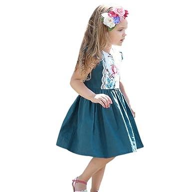 ASHOP Vestidos de niña, Vestido de Flores con Volantes de Encaje ...