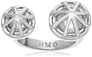 Rebecca Minkoff Women's Two Caged Stud Ring Rhodium Ring 7