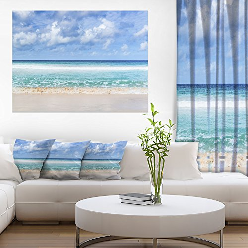 Design Art Tranquil Beach under White Clouds Modern Seascape Canvas Artwork
