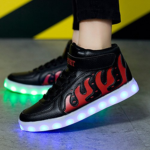 Matari Lovers Hombres Mujer Fashion Luminous Zapatos Luces Led Usb Carga Zapatos Negro