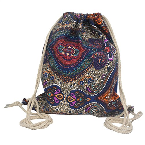 artone-bohemia-style-canvas-drawstring-bag-travel-daypack-sports-portable-backpack-sapphire