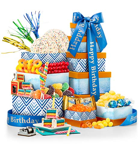 Executive Birthday Gifts - GiftTree Gourmet Birthday Gift Tower | Rainbow Twirl Lollipop, Cake and Sugar Cookies, Lemon Drops, Peach Buds, Pop Rocks and More | Music Box & 3 Party Blowers Included