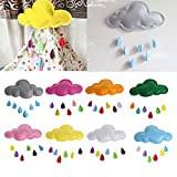 Delight eShop Kids Play Tent Decoration Tent Props Toy Raining Clouds Water Drop/Star Moon Baby Bed Room Hanging Decor Wall Stickers (Hermosa Pink)